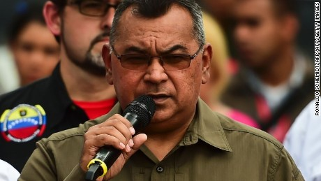 Venezuela's Interior Minister Nestor Reverol speaks before the destruction of weapons seized by the police and others voluntarily handed over by citizens for the National Service of Disarmament (Senades in spanish) in Caracas, on September 8, 2016. / AFP / RONALDO SCHEMIDT        (Photo credit should read RONALDO SCHEMIDT/AFP/Getty Images)