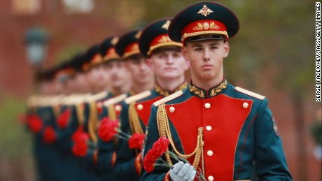 The Russian Honor guard get ready to lay flowers at the Tomb of the Unknown Soldier on Tuesday.