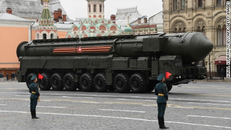 A Russian Yars RS-24 intercontinental ballistic missile system rides through Red Square during the Victory Day military parade in Moscow