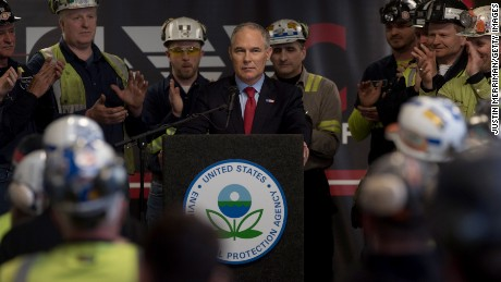 Environmental Protection Agency Administrator Scott Pruitt speaks with coal miners at the Harvey Mine on April 13 in Sycamore, Pennsylvania.  (Photo by Justin Merriman/Getty Images)