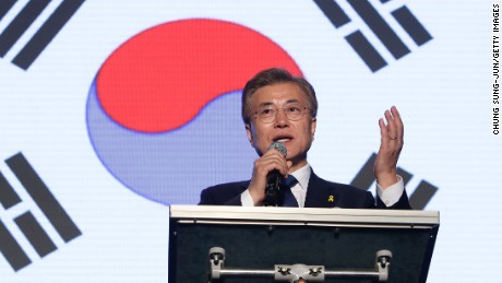 South Korean President-elect Moon Jae-in, of the Democratic Party of Korea, speaks to supporters at Gwanghwamun Square on May 9, 2017 in Seoul, South Korea.