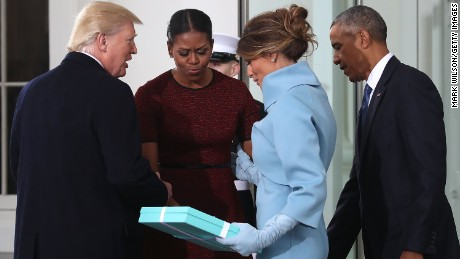 President-elect Donald Trump and his wife Melania Trump are greeted by President Barack Obama and his wife, first lady Michelle Obama, upon arriving at the White House on January 20, 2017 in Washington, DC.