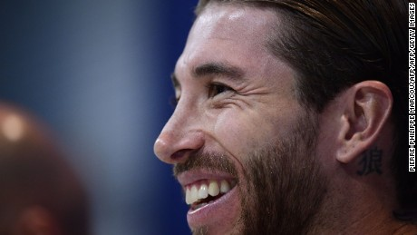 Real Madrid's defender Sergio Ramos smiles during a press conference at Valdebebas Sport City in Madrid on May 9, 2017 on the eve of their Champions League semi final second leg football match against Atletico de Madrid. / AFP PHOTO / PIERRE-PHILIPPE MARCOU        (Photo credit should read PIERRE-PHILIPPE MARCOU/AFP/Getty Images)