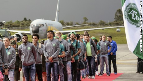 The Brazilian football team Chapecoense arrives by plane to the airport in Rionegro, near Medellin, Colombia, on May 8, 2017, two days before their final match against the Colombian team Atletico Nacional in the Recopa Sudamericana.  Brazil's Chapecoense football club was all but wiped out in an air crash in Colombia last November. / AFP PHOTO / Joaquin Sarmiento        (Photo credit should read JOAQUIN SARMIENTO/AFP/Getty Images)
