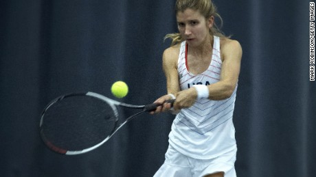 Brittany Tagliareni plays in a singles match at the INAS World Tennis Championships in Bolton, England, in 2017.