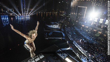 Briton Gary Hunt dives from the 27m platform in Dubai at the Red Bull Cliff Diving World Series in October 2016.