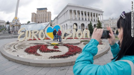 A giant 'Eurovision' lettering can be seen at the Maidan square in Kiev, Ukraine, 10 May 2017. The Ukrainian capital is the host of this year's two semifinals on the 09.05.17 and the 11.05.17 as well as the final on the 13.05.17. Photo by: Julian Stratenschulte/picture-alliance/dpa/AP Images