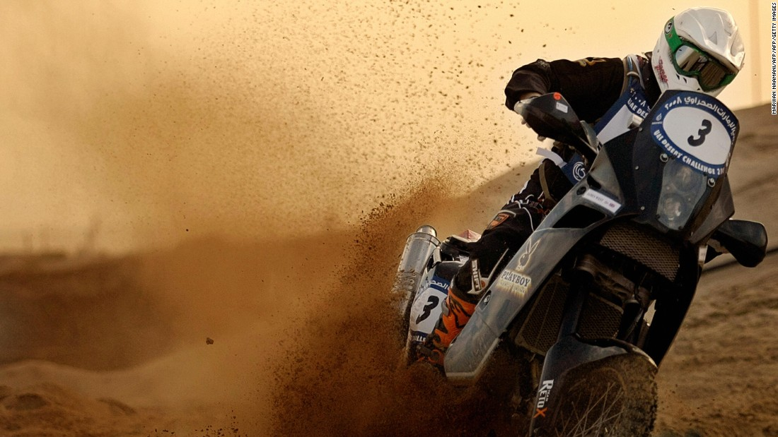 British motorcyclist James West drives his 690 cc KTM Rally bike during the five-day UAE Desert Challenge Rally in Dubai. Less extreme options are available should you wish to take two wheels into the dunes.