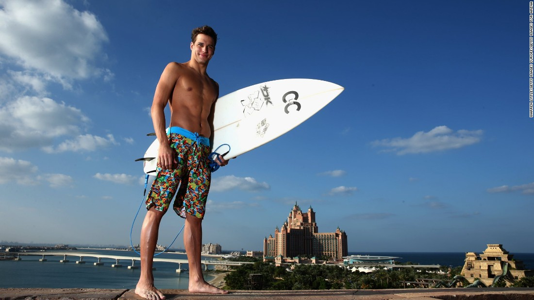 We're not sure how good a surfer Olympic gold medal-winning swimmer Chad Le Clos is, but he looks good in a pair of board shorts and ready to hang five near the Atlantis Hotel on The Palm.
