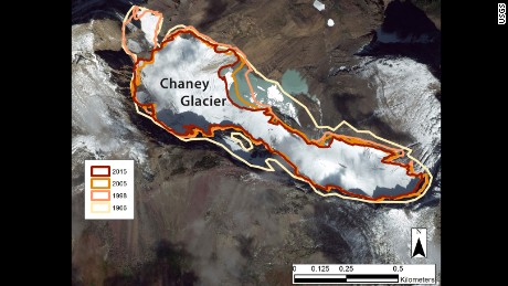 This image shows the perimeter of Chaney Glacier in Glacier National Park in 1966, 1998, 2005, and 2015.