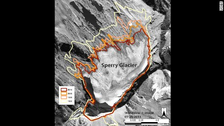 This image shows the perimeter of Sperry Glacier in Glacier National Park in 1966,1998, 2005, and 2015.