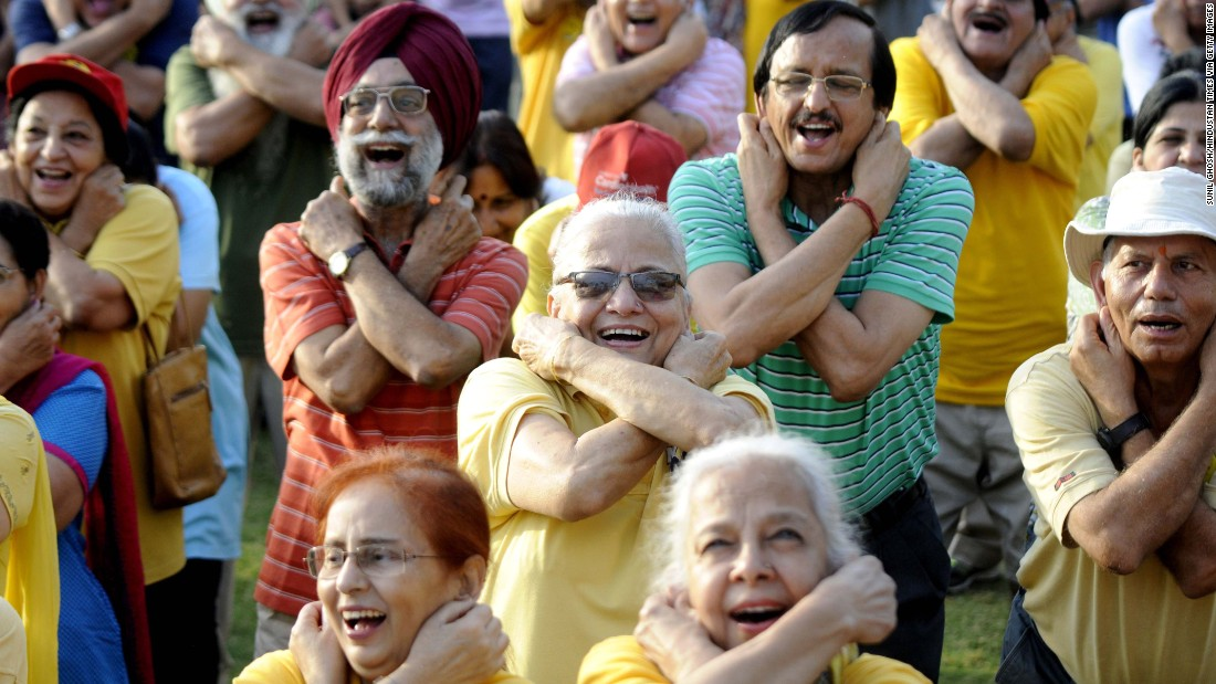 Retired army members take part in a laughing yoga session ahead of 2017 World Laughing Day. Studies have shown that mirthful laughter, the kind that stems from real joy, relieves stress, lightens mood and confers health benefits.