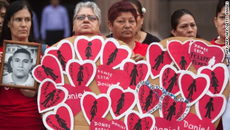 Mothers of missing people in the states of Nuevo Leon, Coahuila and Tamaulipas, perform a protest demanding justice for their missing relatives in Monterrey, Mexico, on May 10,  2017.  / AFP PHOTO / JULIO AGUILAR        (Photo credit should read JULIO AGUILAR/AFP/Getty Images)