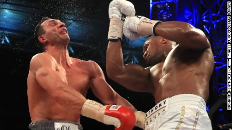 Joshua and Klitschko in action during their heavyweight world title bout at Wembley Stadium in April.