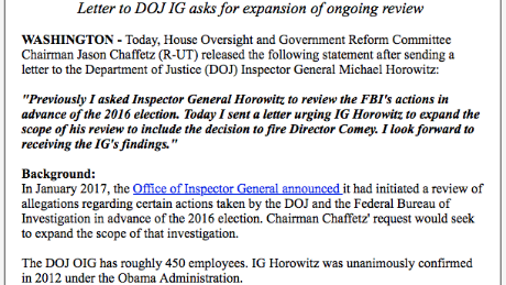 An excerpt from a press release from House Oversight Committee Chair Rep. Jason Chaffetz, R-Utah