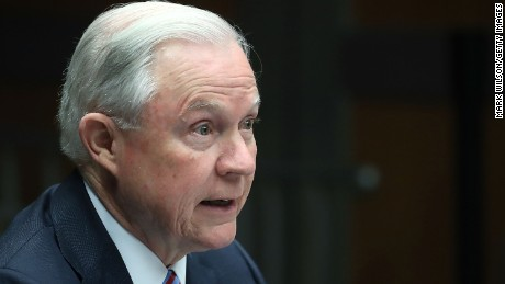 WASHINGTON, DC - APRIL 18:  US Attorney General Jeff Sessions speaks about organized gang violence at the Department of Justice, April 18, 2016 in Washington, DC. Sessions spoke during a meeting of the Attorney General's Organized Crime Council and Organized Crime Drug Enforcement Task Forces.  (Photo by Mark Wilson/Getty Images)