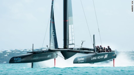 The Land Rover BAR race boat in full flight.