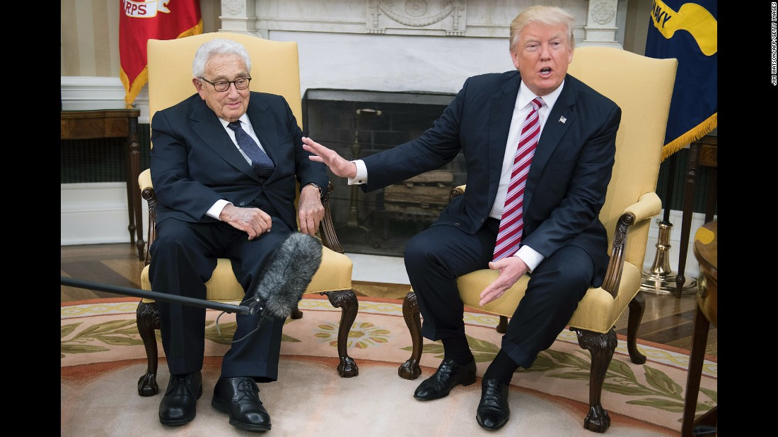 "President Donald Trump talks to reporters in the White House Oval Office as he meets with former Secretary of State Henry Kissinger on Wednesday, May 10. The previous day, Trump made headlines with <a href=""http://www.cnn.com/2017/05/09/politics/james-comey-fbi-trump-white-out/"" target=""_blank"">his abrupt firing</a> of FBI Director James Comey, the man leading a federal investigation into the Trump campaign's alleged ties to Russia. The move <a href=""http://www.cnn.com/2017/05/10/politics/donald-trump-henry-kissinger/"" target=""_blank"">drew comparisons </a>to former President Richard Nixon, who also fired the man leading an investigation into his associates' actions. Kissinger was secretary of state under Nixon."