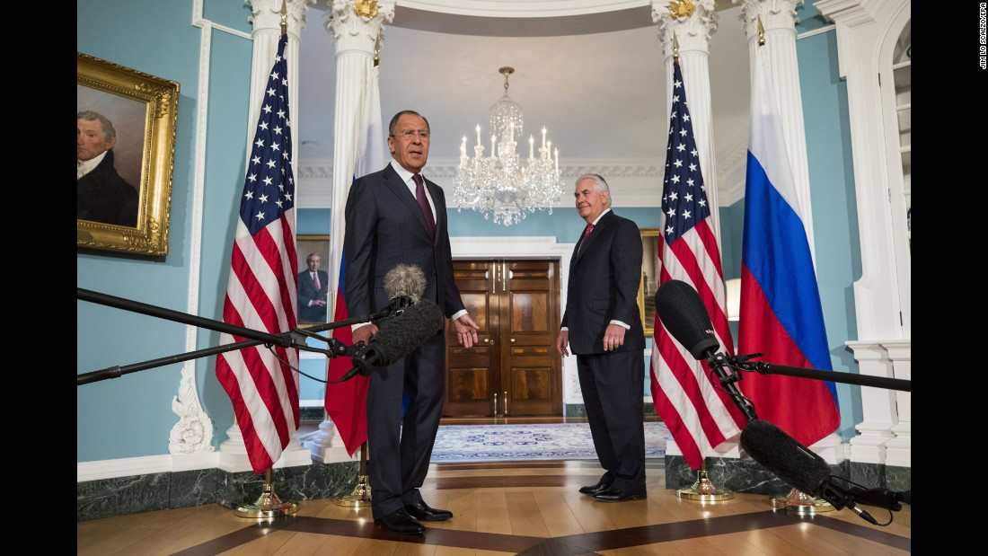 "Russian Foreign Minister Sergey Lavrov, left, and US Secretary of State Rex Tillerson speak to reporters in Washington on Wednesday, May 10. Lavrov <a href=""http://www.cnn.com/2017/05/10/politics/trump-lavrov-tillerson-meeting/"" target=""_blank"">also met with President Trump</a> later in the day."