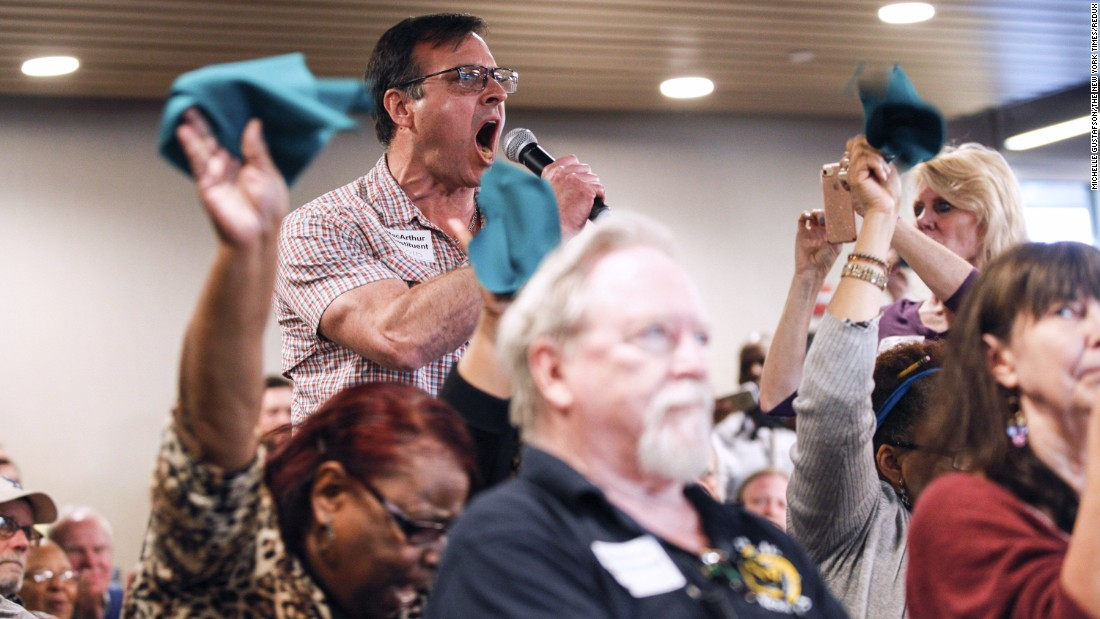"Paul Ziegler yells while asking US Rep. Tom MacArthur a question during a town hall meeting in Willingboro, New Jersey, on Wednesday, May 10. MacArthur, who played a central role in resurrecting the GOP's efforts to repeal and replace Obamacare in the House,<a href=""http://www.cnn.com/2017/05/10/politics/tom-macarthur-town-hall/"" target=""_blank""> faced an explosive crowd</a> in a forum that lasted more than four hours. Throughout the night, MacArthur tried to assure voters that his bill offered adequate protections for people with pre-existing conditions, but constituents struggled to accept his answers."