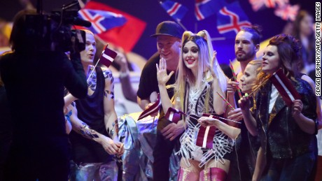 Latvia's contestants react as they go through to the final from the semi-final in Kiev on May 9.