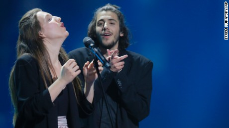 "Salvador Sobral from Portugal performs the song ""Amar pelos dois"" with his sister Luisa after winning."