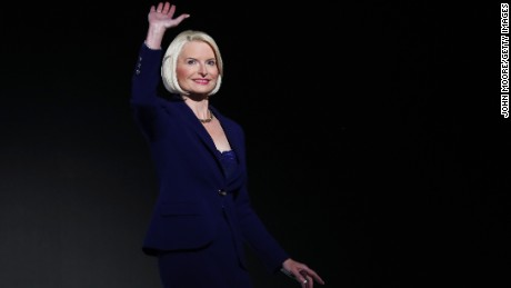 Callista Gingrich, wife of former Speaker of the House Newt Gingrich waves to the crowd during the third day of the Republican National Convention on July 20, 2016 at the Quicken Loans Arena in Cleveland.