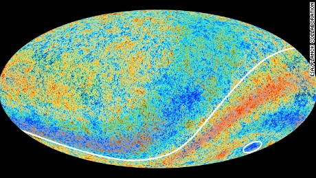 "The circled area in this map of the cosmic microwave background left by the Big Bang is the ""Cold Spot"" that scientists are investigating."