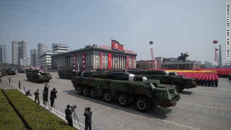 An unidentified missile and mobile launcher makes its way through Kim Il-Sung square during a military parade marking the 105th anniversary of the birth of late North Korean leader Kim Il-Sung in Pyongyang on April 15, 2017.   North Korean leader Kim Jong-Un on April 15 saluted as ranks of goose-stepping soldiers followed by tanks and other military hardware paraded in Pyongyang for a show of strength with tensions mounting over his nuclear ambitions. / AFP PHOTO / Ed JONES        (Photo credit should read ED JONES/AFP/Getty Images)