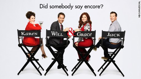 "Promotional art for the return of ""Will & Grace."""