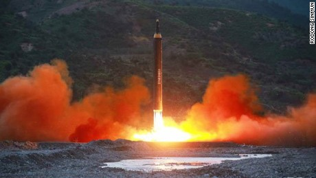 A state media image of North Korea's missile launch Sunday.