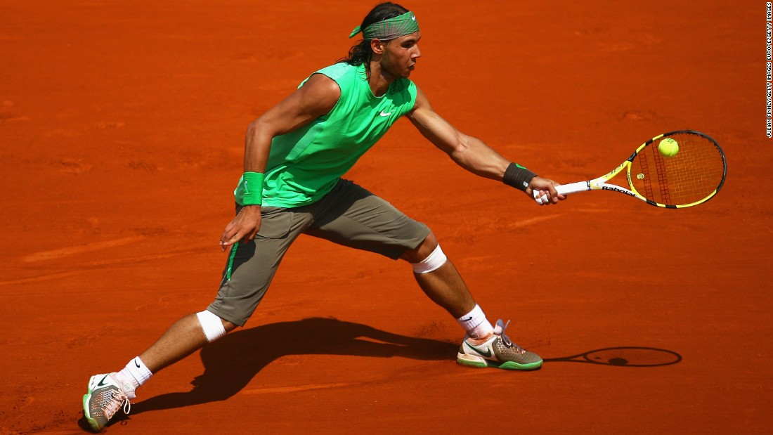 A year later, Nadal opted for a variation on his debut French Option look, this time sporting an all-green combo. Nadal reached world No. 1 for the first time in his career in 2008, helped by his fourth consecutive Roland Garros title -- matching Bjorn Borg's record of consecutive trophies, while also becoming only the seventh man to win a grand slam without dropping a set.