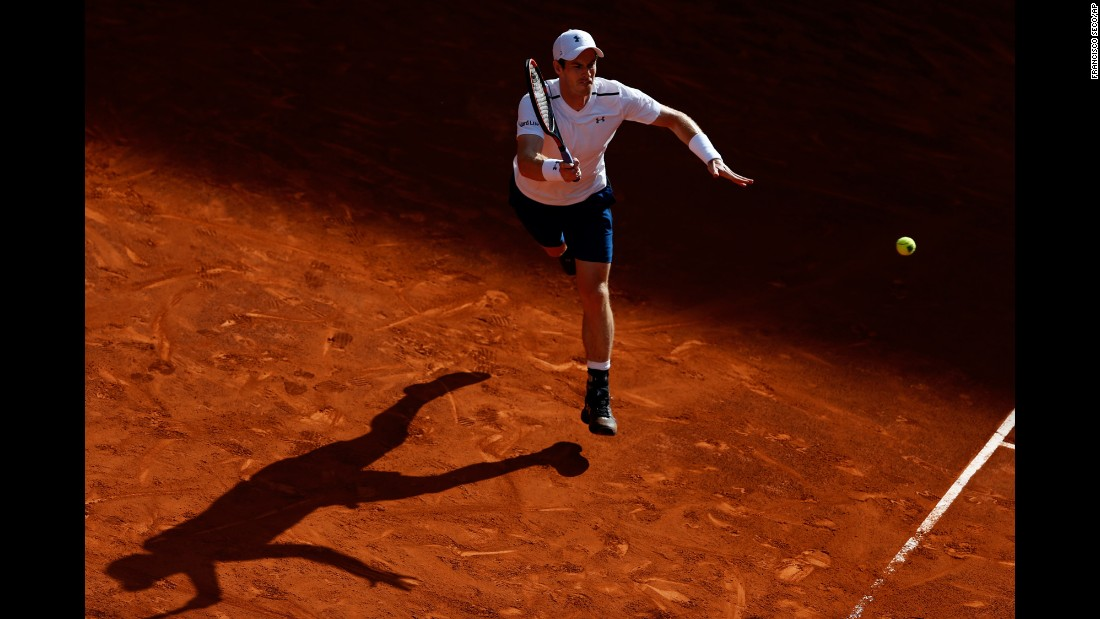 Andy Murray, the world's No. 1 tennis player, returns a shot at the Madrid Open on Tuesday, May 9.