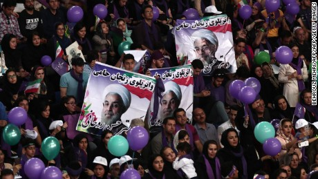 Rouhani supporters rally during a campaign gathering in northwest Iran on Tuesday.
