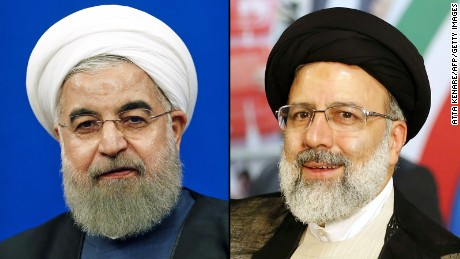 Iranian president Hassan Rouhani and his election rival Ebrahi Raisi.