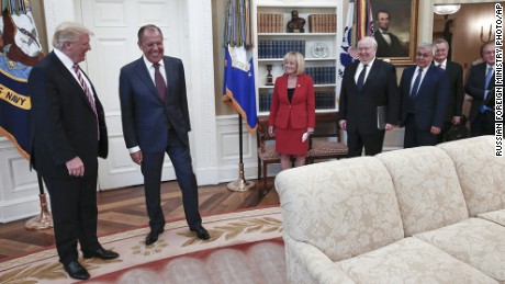 US President Donald Trump meets with Russian Foreign Minister Sergey Lavrov, second left, at the White House on May 10.