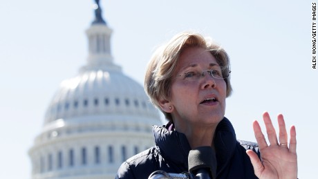 Sen. Elizabeth Warren (D-MA) speaks during a rally in front of the Capitol in March. (Photo by Alex Wong/Getty Images)