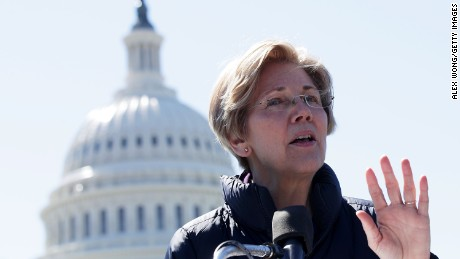 WASHINGTON, DC - MARCH 22:  U.S. Sen. Elizabeth Warren (D-MA) speaks during a rally in front of the Capitol March 22, 2017 in Washington, DC. Sanders urged the U.S. Sen. Bernie Sanders (I-VT) to reject President Donald Trump's nomination of Jay Clayton to head the Securities and Exchange Commission.  (Photo by Alex Wong/Getty Images)