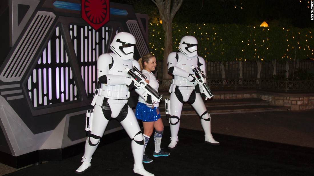 Most of the 16,000 runners don't seem so concerned with finish times that they won't sacrifice minutes to get their picture taken with C-3PO or pose riding a landspeeder.