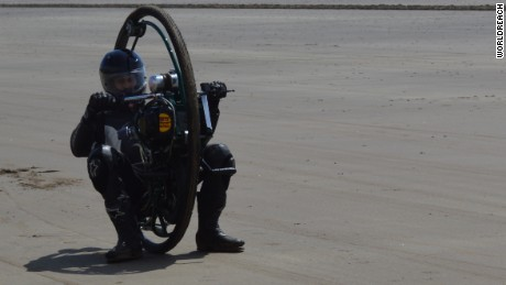 Tom Anable pilots his monowheel.