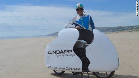 Frenchman Gilles Pujol poses with his Zundapp.