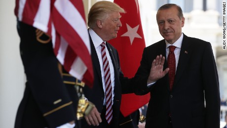 U.S. President Donald Trump welcomes Turkish President Recep Tayyip Erdogan outside the West Wing of the White House in May