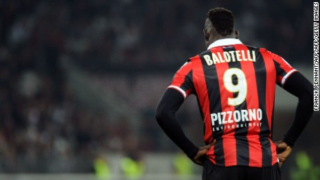 Mario Balotelli looks on during the French Ligue 1 football match between Nice and Angers.