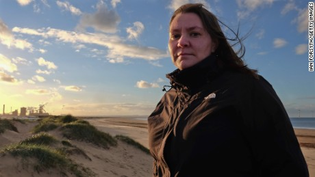 A file photo of Labour MP for Redcar Anna Turley in front of the SSI steel blast furnace site on September 24, 2015 in Redcar, England.