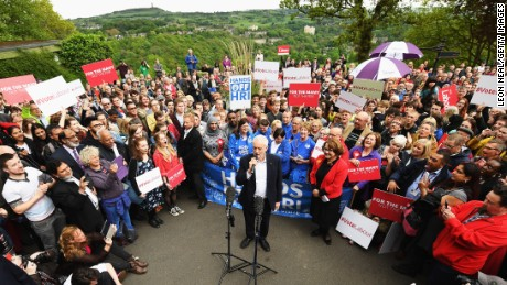 Labour Party leader Jeremy Corbyn addresses a crowd at a campaign rally on May 16 in Huddersfield.