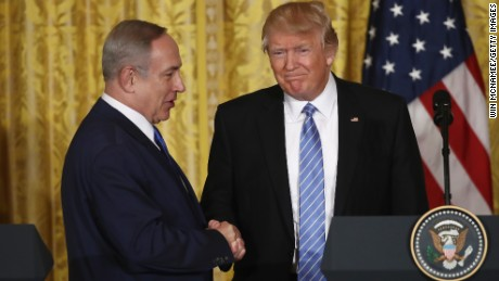 Trump and Netanyahu shake hands during a joint news conference at the White House in February.
