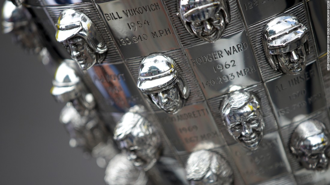 The Borg-Warner trophy is one of the most magnificent and unusual in sport, with a three-dimensional portrait of each winner's face carved on the surface.  <br />