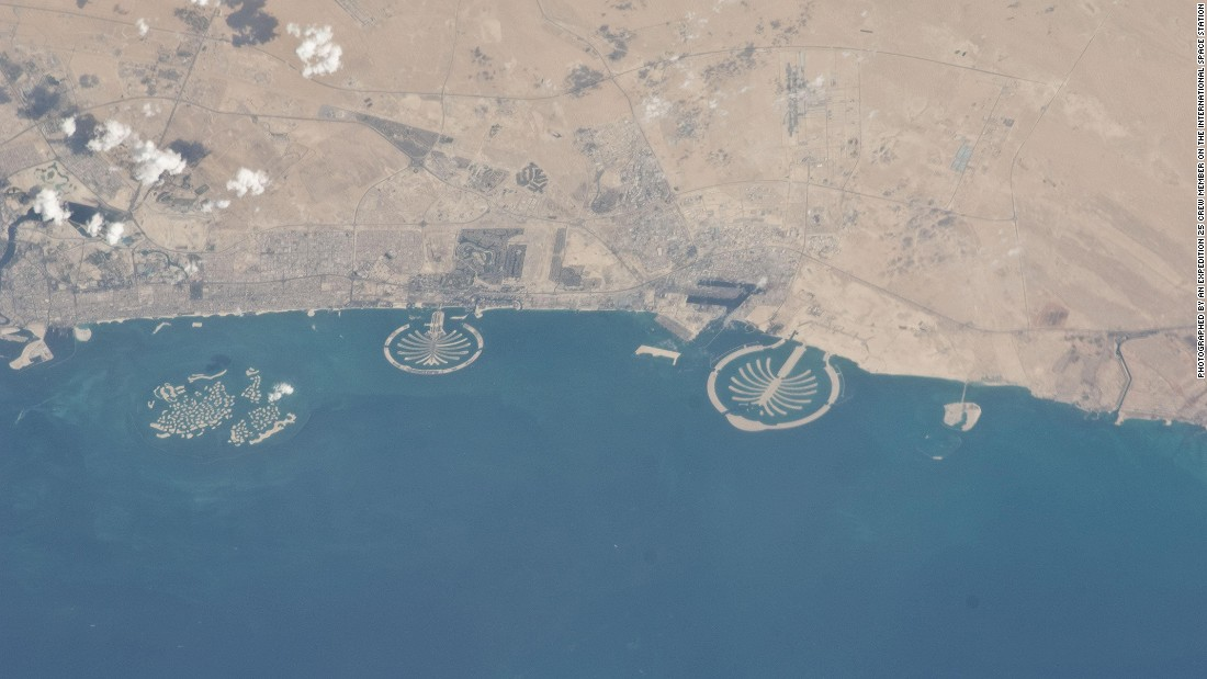 The three human-made artificial archipelagos in Dubai (from left): the World Islands, Palm Jumeirah and Palm Jebel Ali.