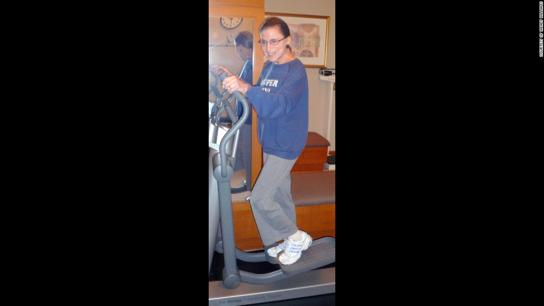 "Ginsberg wears a ""Super Diva"" sweatshirt as she works out at the Supreme Court in August 2007."