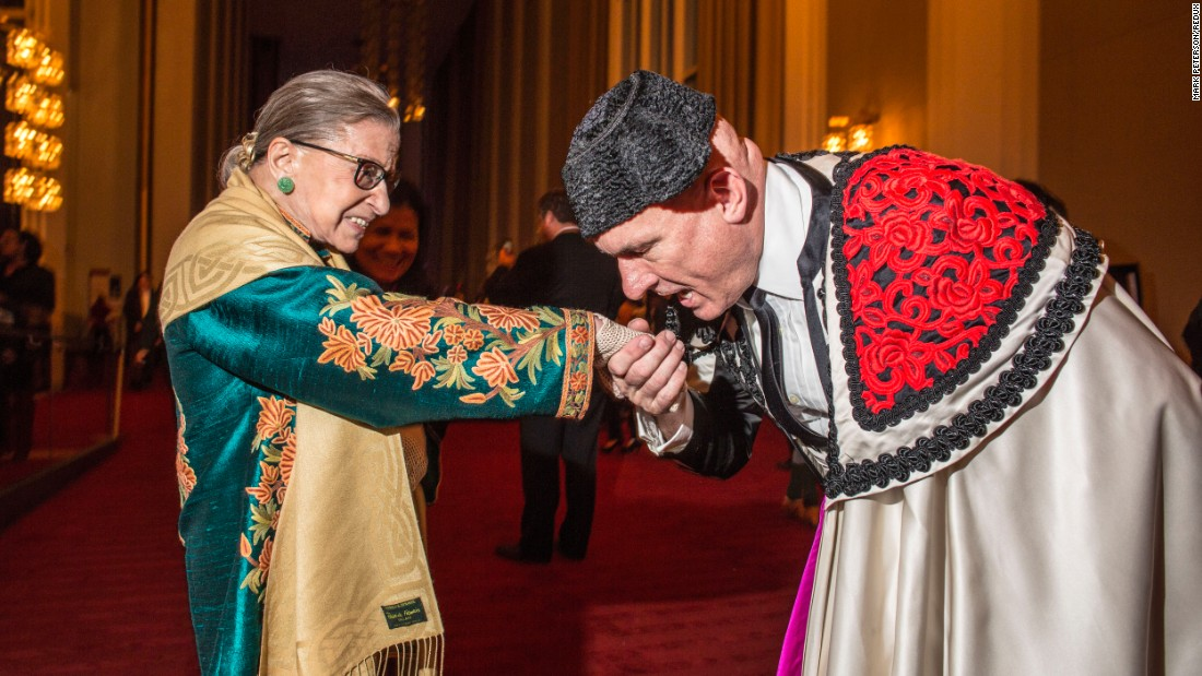 "Ginsburg, with an extra from ""Carmen,"" attends the opera at the Kennedy Center in Washington in 2015."